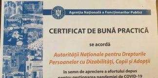 Certificat de bună practică în gestionarea pandemiei pentru Autoritatea Națională pentru Drepturile Presoanelor cu Dizabilități, Copii și Adopții