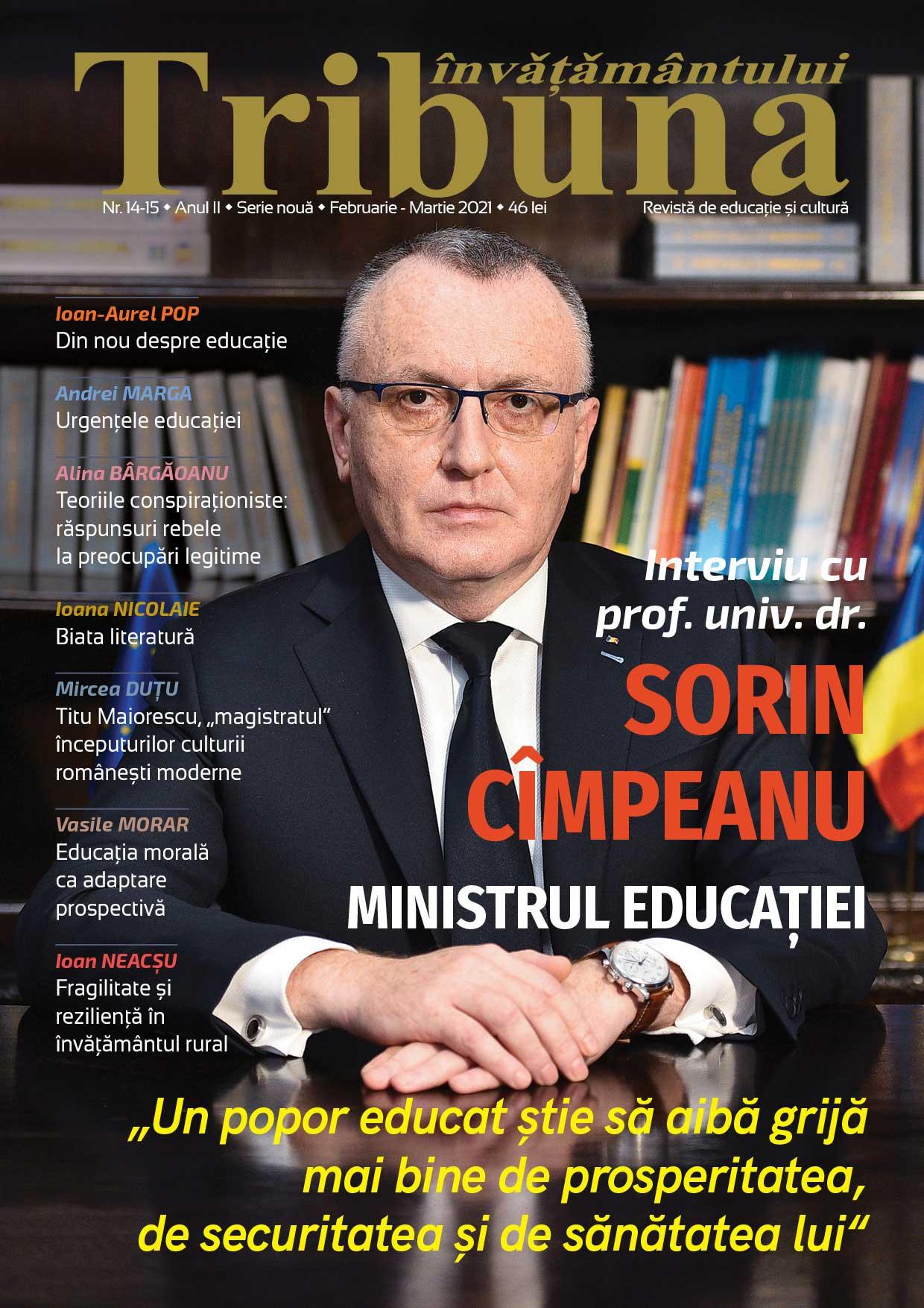 """Interviu cu prof. univ. dr. Sorin Mihai Cîmpeanu, ministrul Educației: """"Un popor educat  știe să aibă grijă  mai bine  de prosperitatea,  de securitatea  și de sănătatea lui"""""""
